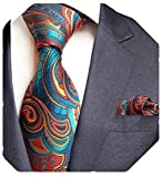 GUSLESON Fashion Silk Floral Tie and Pocket Square Set Mens Necktie for Party (0751-05)
