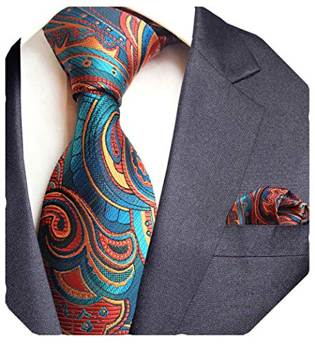GUSLESON Brand New Silk Floral Tie and Pocket Square Set Mens Necktie for Party (0751-05)