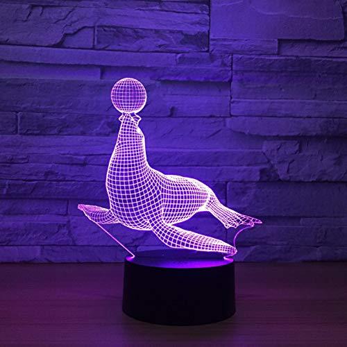 LPHMMD Nacht Licht Zee Leeuwen 3D Lamp 7 Kleur LED Nachtlampen voor Kinderen Touch USB Baby Slee Nachtlampje