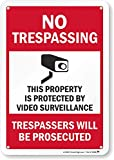 SmartSign 'No Trespassing - This Property is Protected by Video Surveillance' Sign | 7' x 10' Aluminum