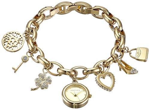 Anne Klein Women's Premium Crystal Accented Gold-Tone Charm Bracelet Watch, 10/7604CHRM