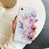 QPOLLY Compatible avec Coque iPhone 7/8, Brillante Fleur Floral Motif Design Silicone TPU Bumper Gel Souple Fille Femme Etui Case Ultra Mince Slim Antichoc Coque Housse de Protection,Rose