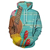 Pullover Hooded Sweatshirt Ukulele with Hawaii Style Background Wooden Classical