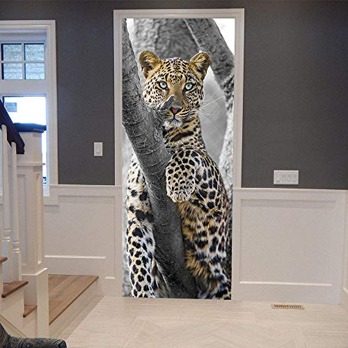 Pegatinas Mural de Puertas 3D Leopardo de las nieves blanco,Autoadhesivo de Bricolaje PVC Póster para Guardería 77x200cm Papel Pintado Mural para Dormitorio Salón, Arte Moderno Decor