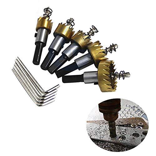Drill 5Pcs/Set Carbide Tip Hss Titanium Twist Hole Saw Drill Bit Metal Wood Drilling Hole Saw Cutter Tool 16/18.5/20/25/30Mm Aluminum