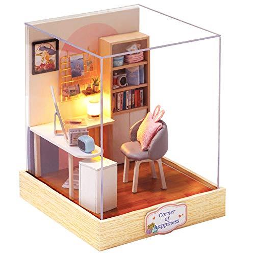 Fsolis DIY Puppenhaus Miniatur-Kit mit Möbeln, 3D Holz Miniaturhaus mit Staubschutz, Mini-Puppenhaus Kit Kreatives Geschenk (QT30)