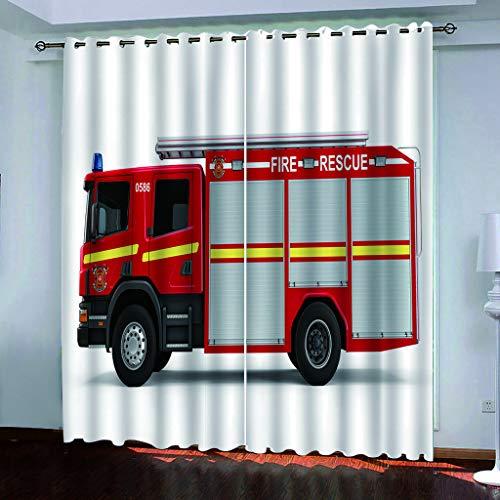 Blickdicht verdunklungsvorhänge mit Ösens,100% Polyester , Ein Satz von 2, Pro Stück 140x210 cm (W x L) ,Moderne Vorhänge mit 3D Die Feuerwehr Thema - Geeignet für Wohnzimmer und Schlafzimmer