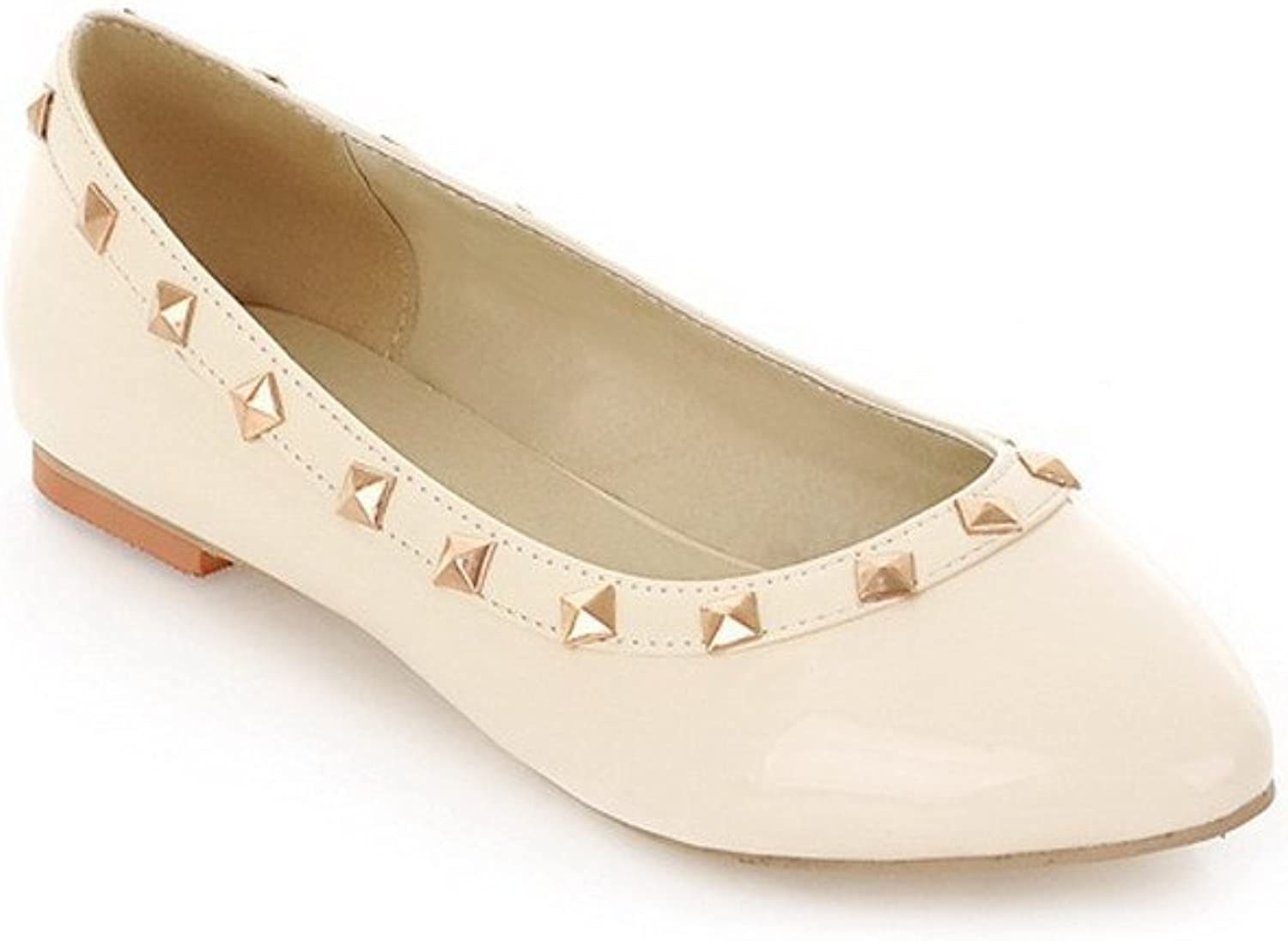 WeenFashion Women's Closed Round Toe Patent Leather PU Solid Flats whith Rivet, Beige, 10 B(M) US