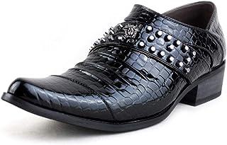 TAOBEGJ Chaussures en Cuir pour Hommes Bout Pointu Augmenté Rivet Chaussures en Cuir Imprimé Serpent Mode Décontracté Punk...