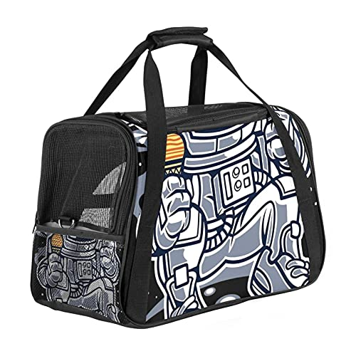 MEITD Airline Approved Portable Pet Carrier for Dogs Cats Comfort Travel Bag Astronaut Eating Planet Ice Cream