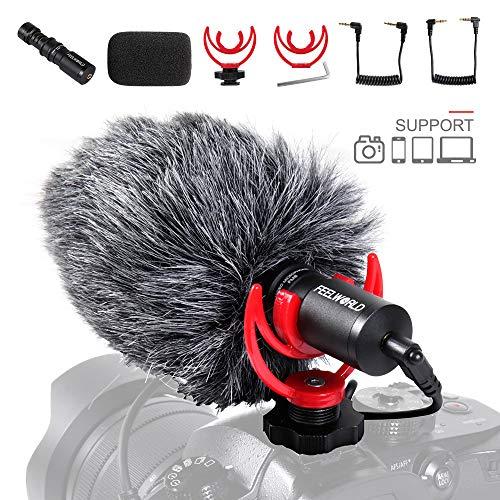 FEELWORLD Microfono per videocamera universale, Compatto per fotocamere Sony/Canon/Nikon/Pentax DSLR Videocamere Vlogging Youtuber, Live Streaming, Content Creators, Tik Tok