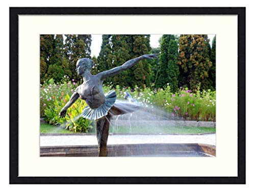 OiArt Wall Art Print Wood Framed Home Decor Picture Artwork(24x16 inch) - Fountain Park Sculpture Water Garden Poland