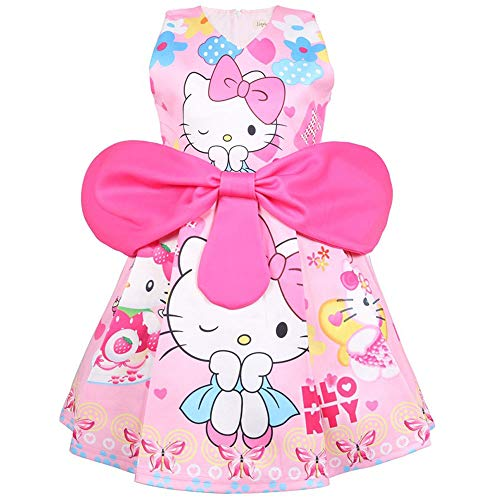QYS Hallo Kitty Little Girls Geburtstag Bow Kleid,Pink,120cm