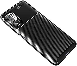 جراب لهاتف Xiaomi Redmi Note 10 5G / Xiaomi Poco M3 Pro، جراب مدرع متين مرن بنمط ألياف الكربون المصقول - أسود