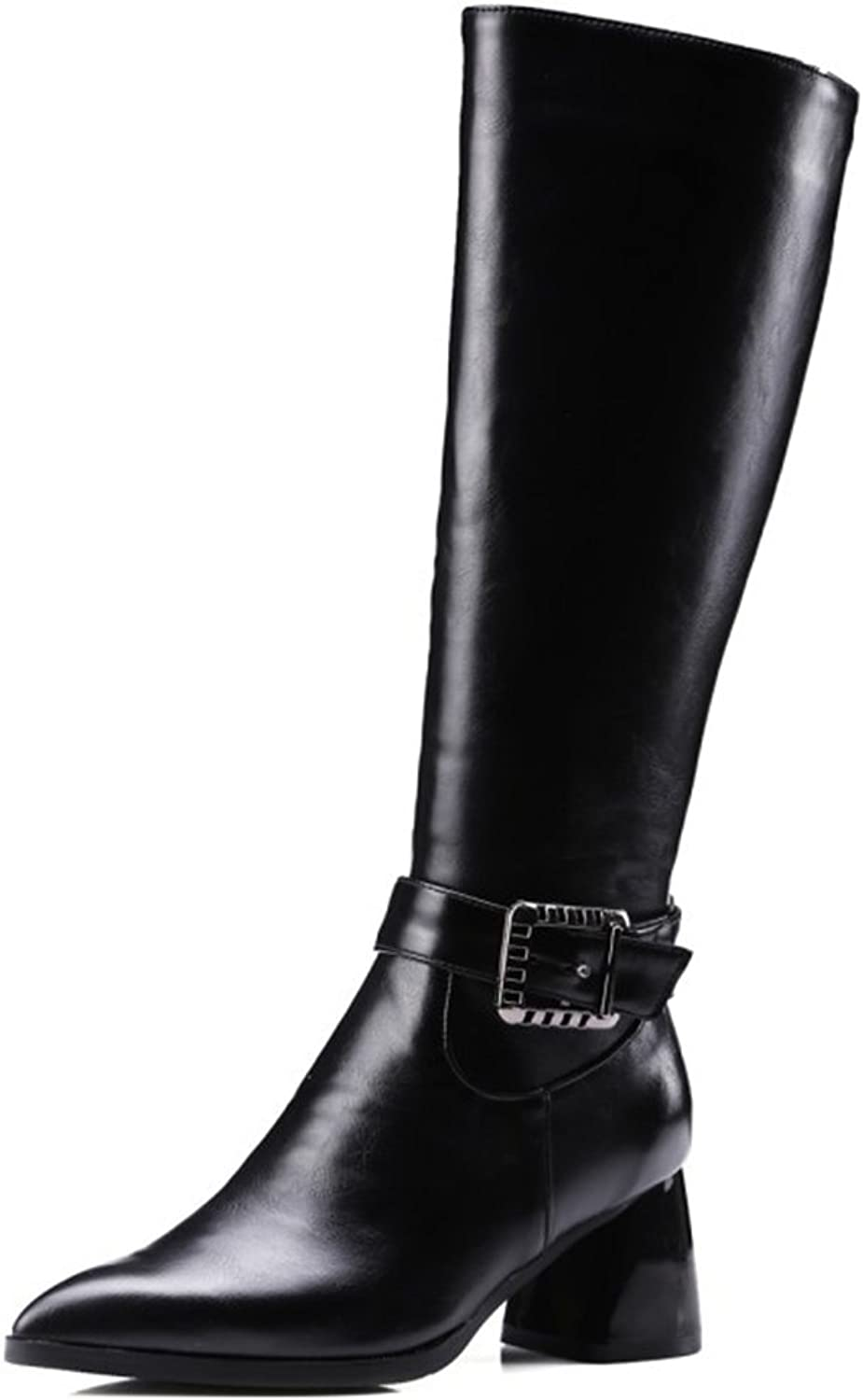 IDIFU Women's Classic Buckled Pointed Toe Knee High Boots Mid Chunky Heels Combat Booties with Zipper