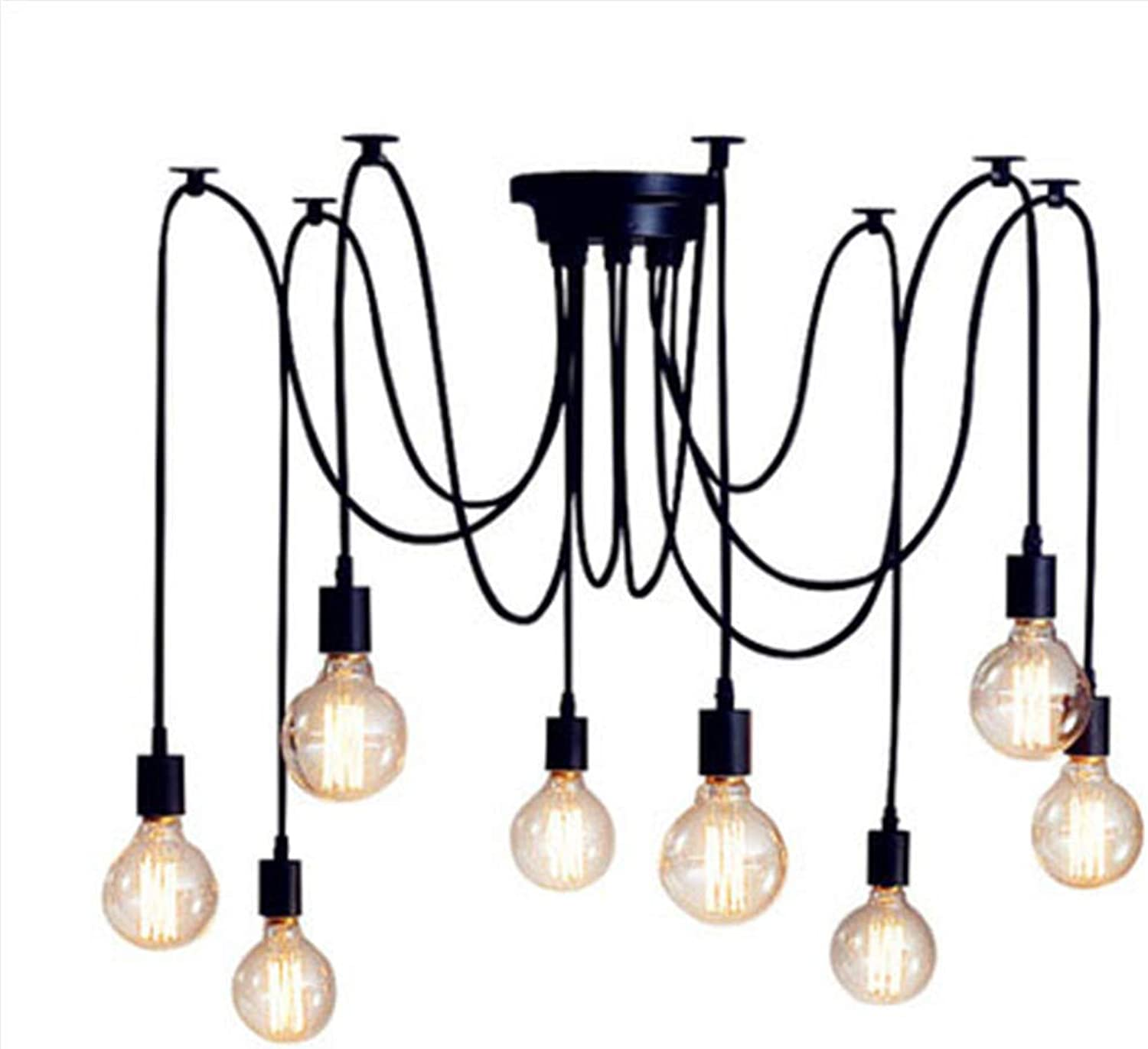 Classic Spider pendent Lampen, Ajustable DIY Ceiling Spider Light E27, Rustic Chandelier, Industrial Hanging Light Dining Hall Bedroom Hotel Decoration,12Arms
