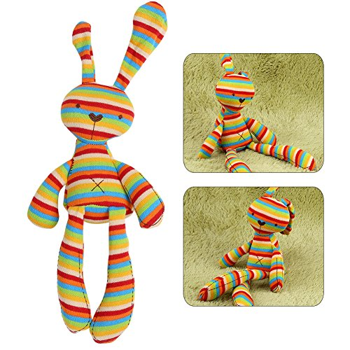 Hztyyier Animal Stuffed Baby Dolls with 100% Cotton Knitted Colorful Rabbit Plush Toy, Dye Free Natural Hue for Kids Sleeping