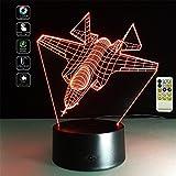 Deerbird Avion de chasse Avion Illusion optique 3D LED télécommande Lampe de bureau avec 7 Couleurs Changement de lumière pour Enfants Cadeau du festival (Modes USB et 3 AA alimentés par batterie)