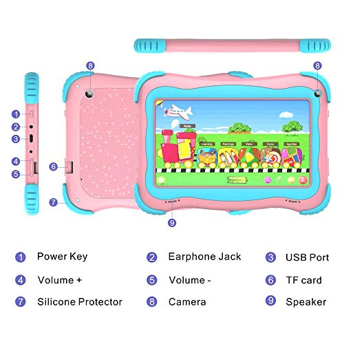 Kids Tablet 7 Android Kids Tablet Toddler Tablet Kids Edition Tablet with WiFi Dual Camera Childrens Tablet 1GB + 16GB Parental Control, Google Play Store (Pink)