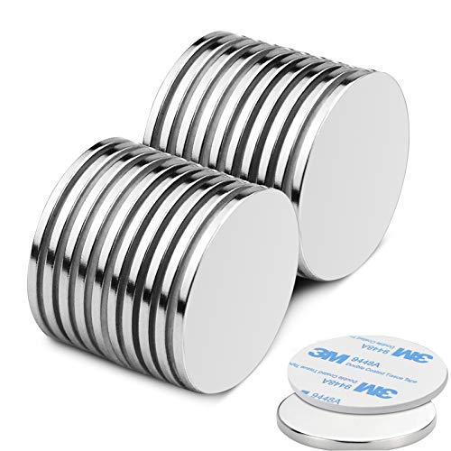 20Pcs 30 X 2 mm Selbstklebende Neodym Magnete, Starke N52 Runder Scheibe Magnet mit Klebeband - für DIY Building Craft Office