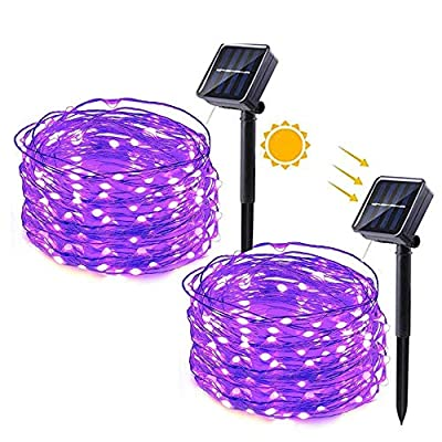 DooVee Solar String Lights,2 Pack 33ft 100 LED Solar String Lights Outdoor, Waterproof Copper Wire 8 Modes Solar Powered Fairy Lights for Christmas, Garden, Yard, Party, Patio, Wedding(Purple)