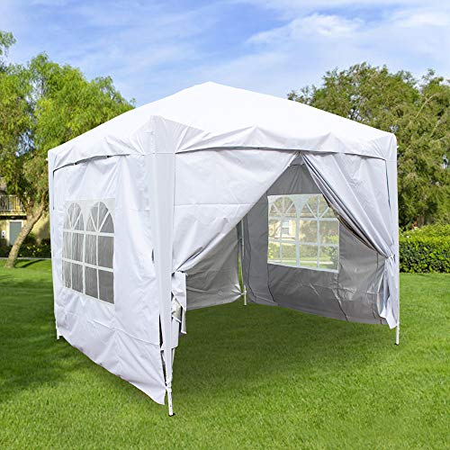 Greenbay 2.5M x 2.5M Foldable Pop up Gazebo Sun Protection Event Outdoor Tent With Four Side Panels (Two with Windows) - White