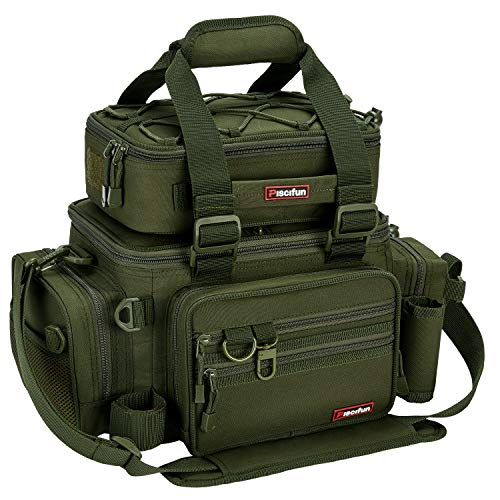 Piscifun Outdoor Fishing Tackle Box Bag Military-Grade Multifunctional Large Storage Tackle Pack...