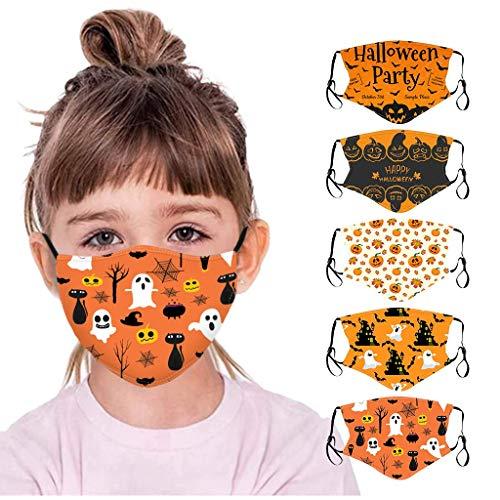 Atmungsaktives und waschbares Gesicht Bandana mit Halloween-Motiv Bandana Lustiger multifunktionaler Stoff Kinder Mund und Nase Outdoor Bandana Loop (5 PC,Multicolor-4)