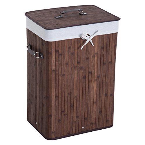 HOMCOM Cesto para Ropa Sucia Plegable con Tapa Cubo para Colada Cesta de Lavandería Rectangular Bambú 70L con Asas 40x30x60cm