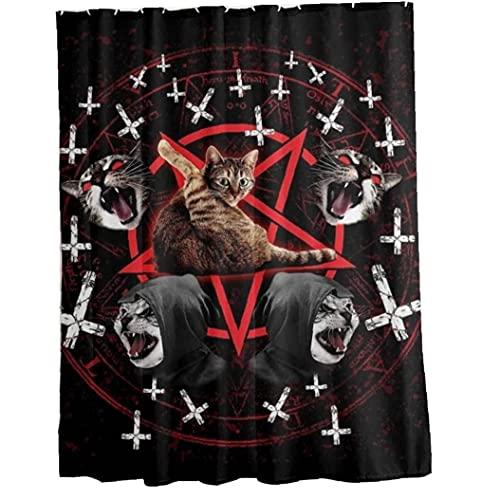 PiniceCore Duschvorhang Satanische Katze Pentagramm Tod Schwarz Metall Duschvorhang Haltbare Badezimmer Gardinen