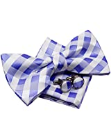 "Retreez Classic Check Woven Microfiber Pre-tied Bow Tie (Width: 5"") with matching Pocket Square and Cufflinks, Gift Box Set as a Birthday Gift - White and Purple Check"