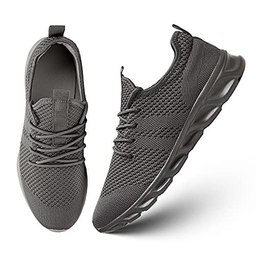 Zapatos Running para Hombre Sneakers Zapatillas de Deportivas Casual Asfalto Correr Gimnasio Tenis Gimnasia Trekking Fitness Calzado Ligero Transpirables Gris 40