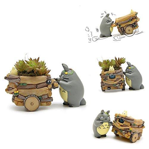 YOSPOSS Blumentopf, Kunstharz, kreative Optik im Totoro-Design, für Zimmerpflanzen, Heimdekoration