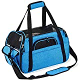 Petcomer Transportín para Perros Y Gatos Portador del Mascota Bolsa de Malla Transpirable de Viaje Bolso de Hombro (Azul, L 48x25x33cm)