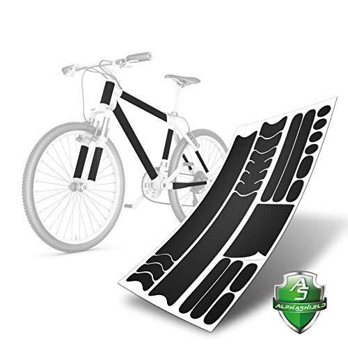 AlphaShield 21 Teiliges Transparent Lackschutzfolie Set Ketten Streben Rahmenschutz Fahrrad K043 (Carbon Schwarz 140µm)