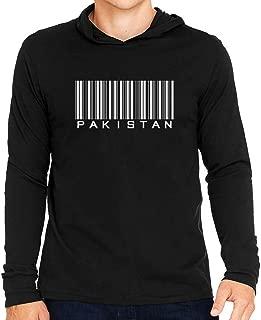Idakoos Pakistan Upper Barcode Hooded Long Sleeve T-Shirt