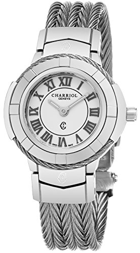 Charriol Womens Celtic 27 MM White Dial Stainless Steel Swiss Quartz Watch CE426S.640.007