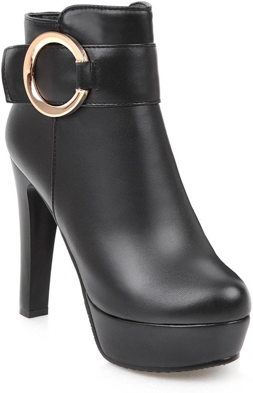 BalaMasa Womens Chunky Heels High-Heel Zipper Platform Black Urethane Boots ABL09634 - 5 B(M) US