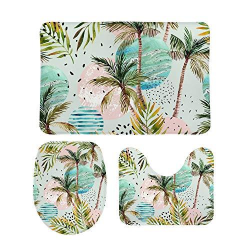PICKIDS Juego de 3 alfombrillas de baño abstractas Suer Pal Tree antideslizante alfombra de baño suave pedestal en forma de U con tapa