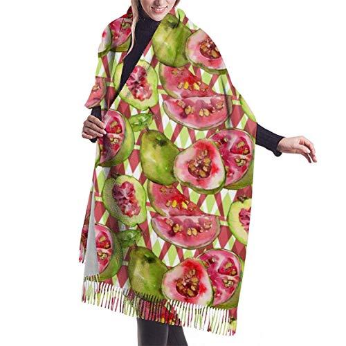 Vestidos Accesorios, Manta, Tapiz, Bufanda con Flecos, Guayaba Patrón de Estilo de Acuarela Bufandas largas Grandes y cálidas Abrigo Pashmina Mantón Estola