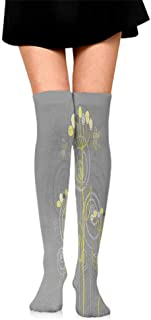 Hot sale Socks Grey and Yellow,Under the Sea Inspired Flowers Abstract Swirls Backdrop,Charcoal Grey and Light Yellow,socks women