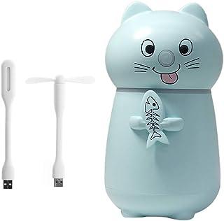 WE-WHLL Purificador de humidificador de Aire para Mascotas Lindo Purificador ultrasónico de Niebla con luz LED Ventilador USB-Azul