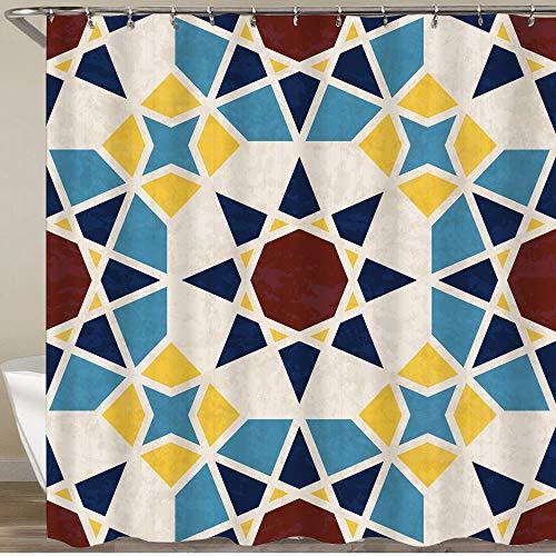 KGSPK Cortinas de Ducha,Polígonos de Mosaico geométrico Abstracto Estrellas Azulejos de mármol en Estilo marroquí,Impermeable Cortinas Baño y Lavables Cortinas Bañera 180x180CM