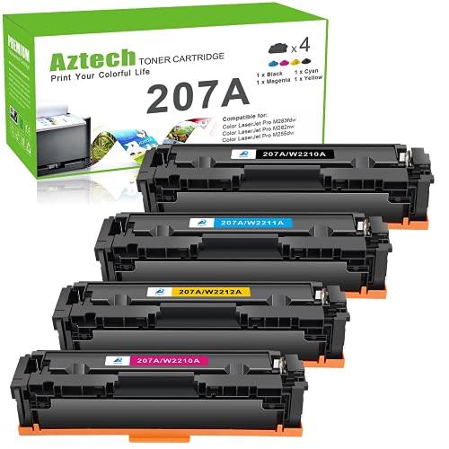 Aztech Kompatibel für HP 207A Tonerkartusche als Ersatz 207A 207X Color Laserjet Pro MFP M283fdw M255dw M255nw M282nw M283fdn 207 W2210A W2211A W2212A W2213A Toner (Schwarz Cyan Gelb Magenta, 4-Pack)