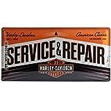 Nostalgic-Art Harley Davidson Service & Repair Placa Decorativa, Metal, Negro y Naranja, 25 x 50 cm