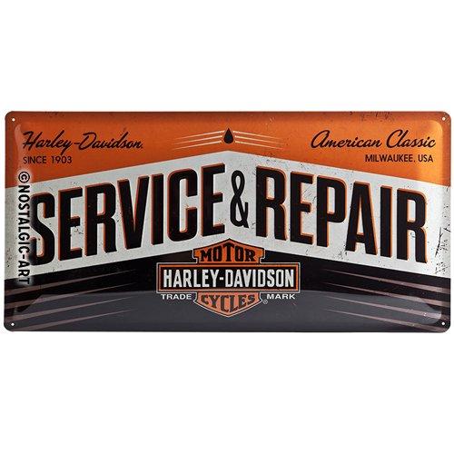Nostalgic-Art Harley-Davidson – Service & Repair – Geschenk-Idee für Motorrad-Fans, Retro Blechschild, aus Metall, Vintage-Dekoration, 25 x 50 cm