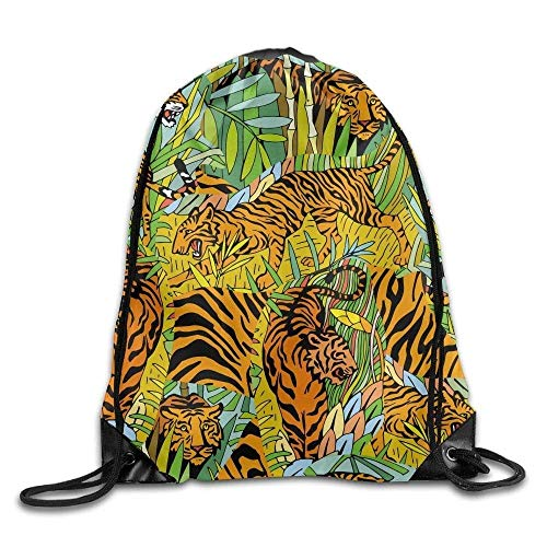 Etryrt Zaino con Coulisse,Borse Sacca,Sacchetto Drawstring Bags Gym Bag Travel Backpack Tigers 2 Canvas Drawstring Bags for Women Men Adults Shoulder Bag