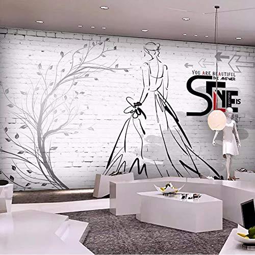 Xzfddn Custom Murals Wall Paper 3D Brick Wall Ast Beauty Coffee Shop Bar Kleidung Shop Hintergrund Wandmalerei Foto Tapete Rolle