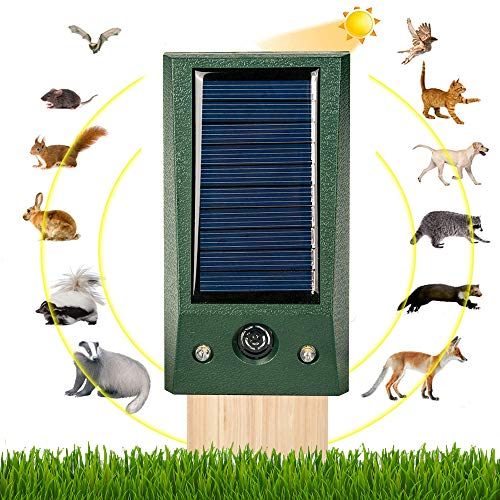 Solar Alimentado Ultrasónico, Ultrasónico Repelente de Gatos para Jardín, para Uso al Aire Libre, ristente al Agua, Animales, Ratones, Perroas, Gatos, Pájaros