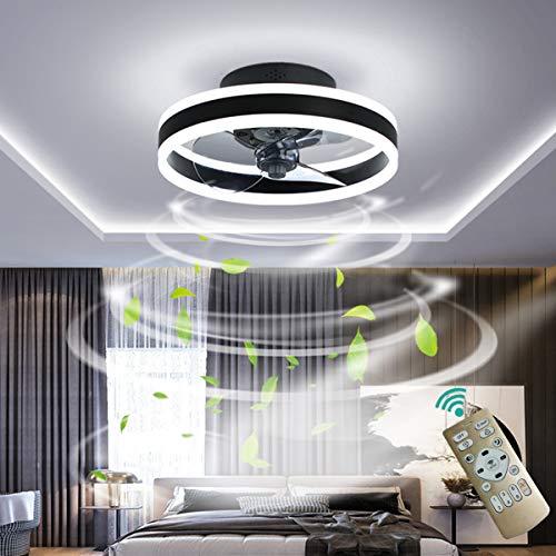 YUNZI Ø40cm 30W Ventilador de Techo con Luces LED Atenuación Círculo Redondo Sencillo Lámpara de Ventilador de Techo para Sala de Estar Habitación Oficina Iluminación de Techo,Negro